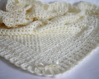 Crochet Baby Blanket / Afghan Ivory Christening Baptism Baby Granny Square Crochet Blanket Baby Shower Gift Baby Boy Baby Girl