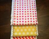 Baby Burp Cloth Set Gender Neutral - Baby Set Burp Cloths - Yellow, Pink, Orange Polka Dot & Chevron Patterned (Set of 3)