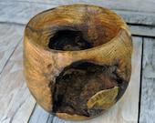 "Wooden Centerpiece Bowl - Black Oak Burl - Live Bark - Wood Carving - Rustic Bowl - Hand Carved Bowl - Tall Bowl - 5"" tall - 5 1/2"" Diameter"