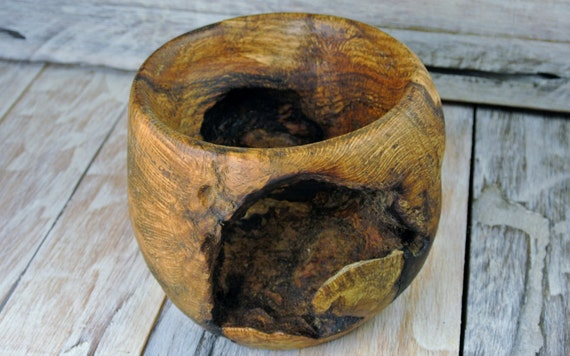 Wooden centerpiece bowl black oak burl by pickslayswoodworking