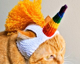 Unicorn Cat Costume - Rainbow Horn / Golden Mane - Hand Knit Cat Hat - Cat Halloween Costume