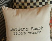 CUSTOMIZABLE PILLOW Latitude Longitude Duck Cloth -Customize Your City or Location for Birthday, WEDDING, Housewarming