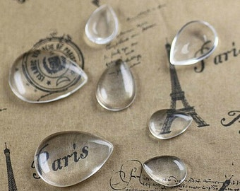 50pcs 10x14/13x18mm Clear Drop Glass Transparent Clear Oblate Cabochon Cameo Cover Cabs