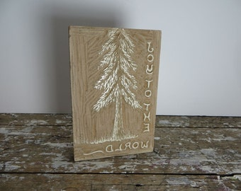 Vintage Stamp Hand Made Stamp Christmas Tree Stamp Joy to the World Decor VintageCarved Wood Stamp Carved Stamp Woodland Christmas Stamp