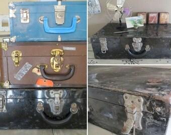 Vintage Luggage Metal Luggage Metal Suitcase Rustic Suitcase Rustic Storage Metal Storage Industrial Storage Industrial Decor Black Metal