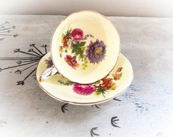 Tea Cup Paragon Bone China Teacup Porcelain Tea Cup Yellow Teacup Tea Service Dainty Tea Cup Housewarming Gift Vintage Teacup