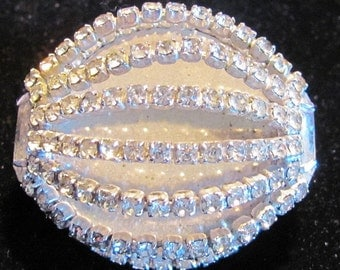 Vintage KRAMER of New York Domed Oval Rhinestone Brooch - Navette Stones on the Sides
