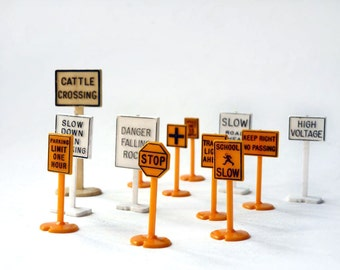 Plastic Railroad Signs, miniature traffic signs, collection for train set