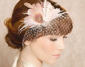 Ivory Blush Bridal Head Piece Feather Fascinator Bridal Hair Flower Stamen Rhinestone Wedding Hair Piece Russian Veiling - the IDA Design