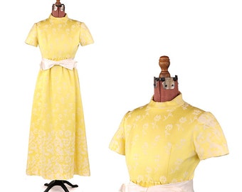 Vintage 1960's Hanna Troy Bright Yellow Embroidered Floral Wedding Party Prom Dress S