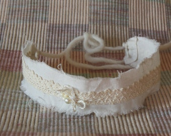 Ivory Cream Lace Tieback Headband Newborn Headband Newborn Photo Prop Halo RTS