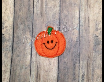 Smiley Pumpkin Halloween Feltie | Felt applique | Embroidered Felt | UNCUT