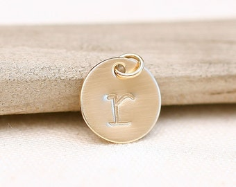 ONE Letter Charm, Initial Charm, Personalized Gold Filled Necklace Charm, Personalized Jewelry, 1/2 inch initial charm, stamped initial