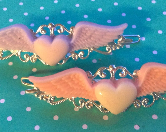 Hair Barrettes, Heart Hair Clips, Wing Barrettes, Hair Clips, Hair Accessories