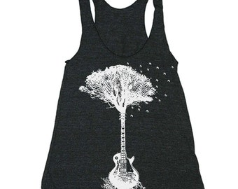 Guitar Tree Racerback Tank - Workout Clothes For Women - Running Shirt - Run Tank Top - Run Shirt - Gym Tank Top
