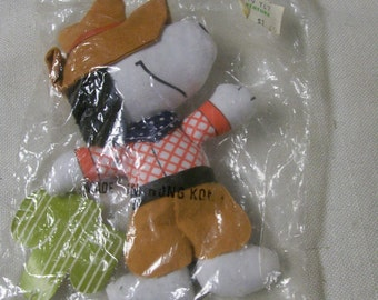 Snoopy Cowboy Doll Cloth 1970s Knickerbocker Original Package Never Removed