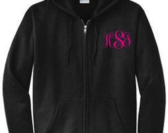 Monogrammed Zip Up Hoodie, Personalized Zip Up  Hoodie, Monogrammed Zip Up Sweatshirt, Personalized Sweatshirt ~ Many Colors