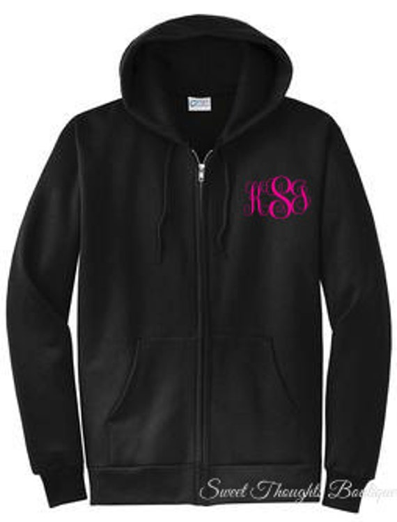 Monogrammed Zip Up Hoodie ~ Personalized Zip Up  Hoodie ~Monogrammed Zip Up Sweatshirt ~ Personalized Sweatshirt ~ Many Colors