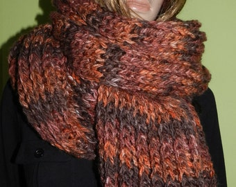 Hand Knitted Oversized Scarf - Extra Soft, Chunky, Long Scarf in Raspberry Chocolate, Winter Scarf