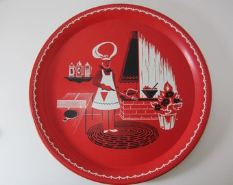 Red Round Metal Red Serving Tray With Backyard Barbecue Scene, Outdoor Picnic Tray