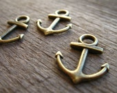 10 Bronze Anchor Charms 19mm