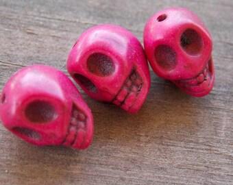10 Pink Stone Skull Beads 12mm Dyed Howlite Sugar Skulls
