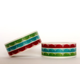 Red, Blue, Green Scallops Washi Tape