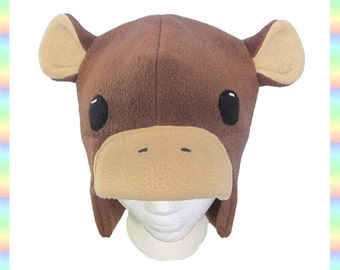 Monkey Aviator Hat - Brown Tan Antipill Fleece Kawaii Cut Ears Costume Clothing Cosplay for Adults Teens Children