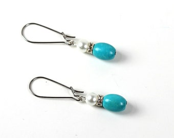 Pearl and Turquoise Beaded Dangle Earrings