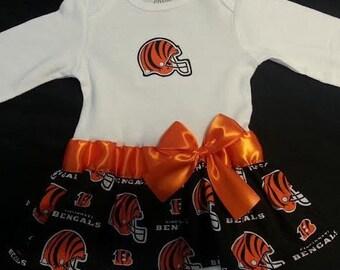 Cincinnati Bengals inspired baby girl outfit