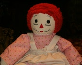 "Vintage 1960's Raggedy Ann, Handmade, Red Hair, Hand Sewn Face, I Love You Heart, Dressed, 19""L"
