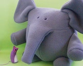 Elephant and Mouse PDF Softie Pattern (fleece elephant, felt mouse, printable digital sewing pattern)