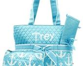 Personalized Anchor Diaper Bag Set Baby Boy or Girl  Aqua & White Diaperbag 3 piece set Monogrammed FREE