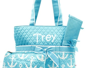 Personalized Anchor Diaper Bag Set Baby Boy or Girl  Aqua & White Diaperbag 3 piece set Monogrammed FREE