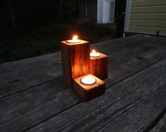 Rustic wood tea light holder - Set of 3 - Antique pine/hemlock