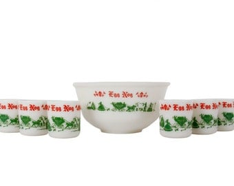 Hazel Atlas Egg Nog Set - Vintage - Milk Glass - Holiday - Punch Bowl Set - Christmas -1940's - 1950's