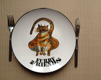 Plate -hand painted-size 11 inches in diameter- Furry Friends - dinner plate -Ceramic hand painted plates.