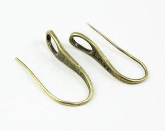 10Pcs Antique Brass Ear Hook Ear Wire Love Ear Hook 27mm (EG01)