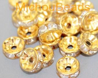 BULK 100 GOLD 8mm Rhinestone Rondel Spacer Beads - 8x3mm Clear Rhinestone w/ Large 1.6mm Hole - Middle East Boho Beads - USA - 5900