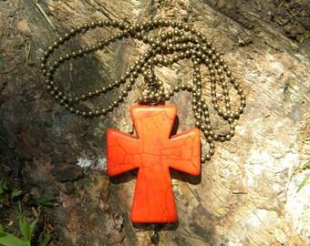 Howlite ...stone necklace pendant cross orange southwest cowgirl chakra healing christian bohemian gypsy metaphysical healing