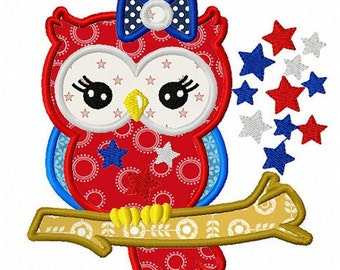 4th of July Owl - Appliqued and Personalized