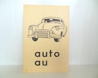 "Vintage Picture Flash Card Car Auto Large (8"" by 5 1/2"") Paper Ephemera 1950's (item 12)"