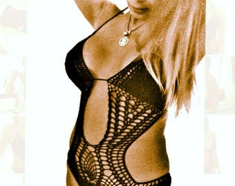 crochet monokini bikini handmade 100% cotton swimsuit swimwear woven woman one piece
