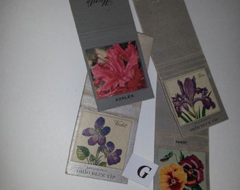 G 4 rare Vintage Flower images paper ephemera lot Old matchbook covers for mixed media supplies art projects