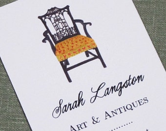 PERSONALIZED BUSINESS CARDS with Chinese Chippendale Chair - Set of 50