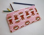 Pink Sock Monkey print Pencil Case/ Crayon Case/Makeup Bag/ Cosmetic Case/ Ready to Ship