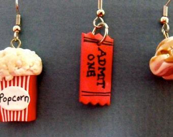 Polymer Clay Popcorn,Movie ticket popcorn kernel Earrings
