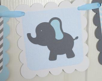 It's a Boy Banner, Boy Banner, Elephant Banner, Elephant Baby Shower, Elephant Nursery Banner, Gray and Light Blue Banner