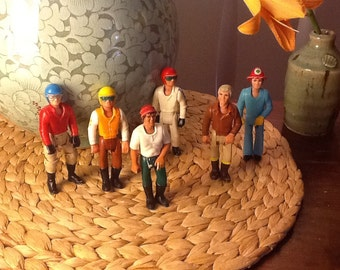 Lot of Six Vintage Fisher Price Adventure People Fireman, Campers, Bikers 1970s