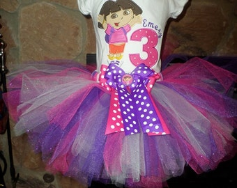 Glitter Dora Birthday Tutu set